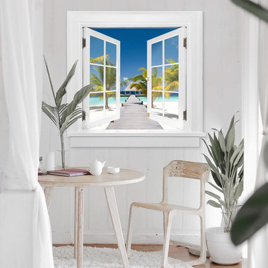 3D Wandtattoo Fenster quadratisch - Der Weg ins Paradies