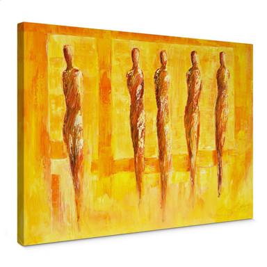 Leinwandbild Schüssler - Fünf Figuren in Gelb