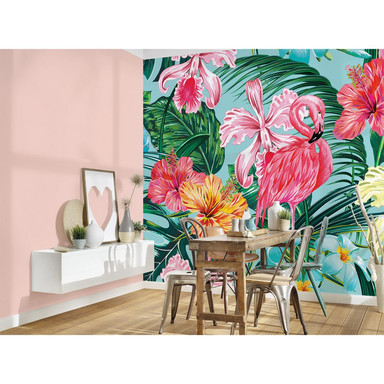 Livingwalls Fototapete Designwalls Flamingo Art Blumen