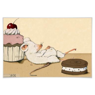 Poster Loske - Maus mit Muffin