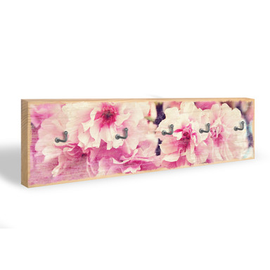 Schlüsselbrett Vintage Kirschblüten + 5 Haken