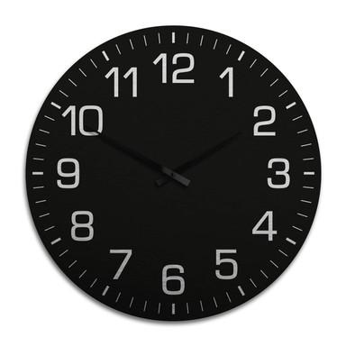 XXL Wanduhr Alu Dibond Silbereffekt - Klassisch mit Minutenanzeige - negativ Ø 70cm - Bild 1