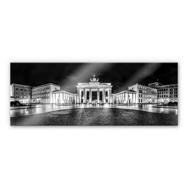 Acrylglasbild Brandenburger Tor - schwarz/weiss - Panorama