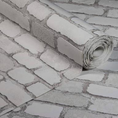 Anaglypta® Brick Carnaby Street Vliestapete in Vintage Backstein Optik weiss, grau