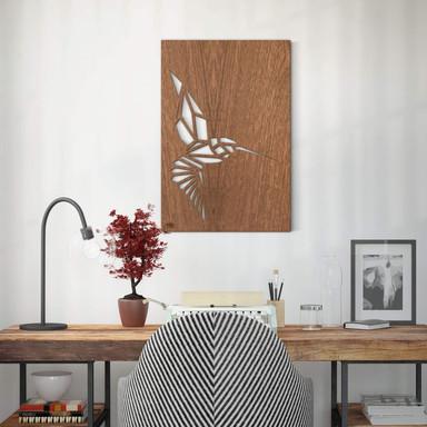 Dekobild Mahagoni - Origami Kolibri