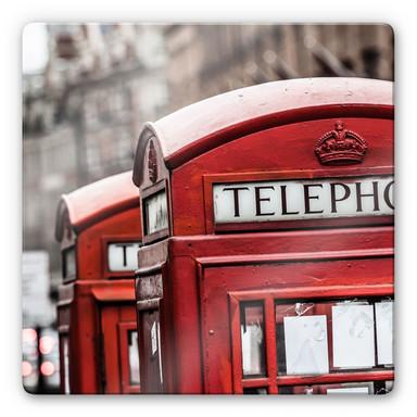 Glasbild Britische Telefonzelle - quadratisch