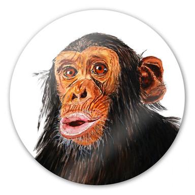 Glasbild Toetzke - Affenporträt - rund