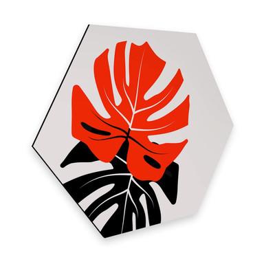 Hexagon - Alu-Dibond Kubistika - Monstera Duett