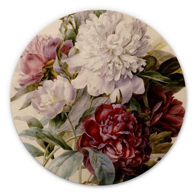 Holzbild Redouté - Strauss von roten, lila und weissen Pfingstrosen - Rund