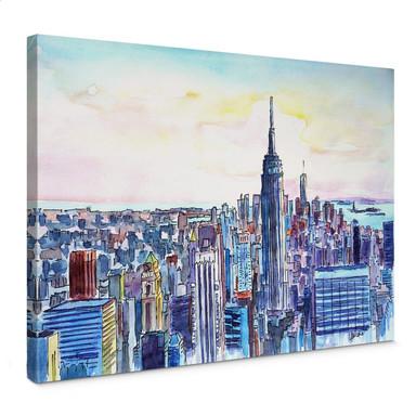Leinwandbild Bleichner - Manhattan Skyline - Aquarell