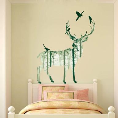 Wandsticker Hirsch Silhouette grün