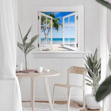 3D Wandtattoo Fenster quadratisch - Atlantic Ocean