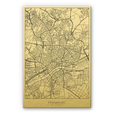 Alu-Dibond-Goldeffekt Stadtplan Frankfurt