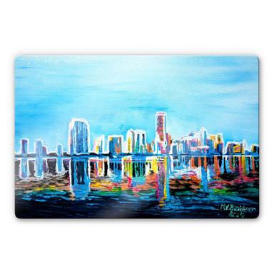 Glasbild Bleichner - Miami im Neonschimmer