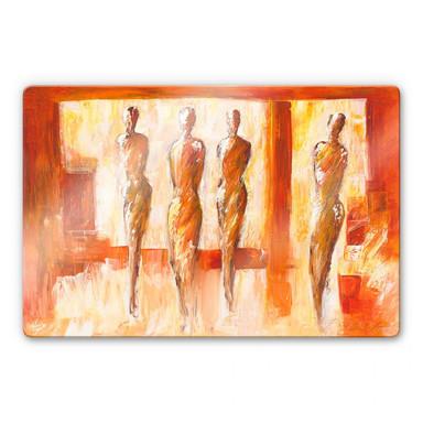 Glasbild Schüssler - Vier Figuren in Orange