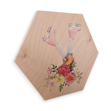 Hexagon - Holz Birke-Furnier Fuentes - Roller Flowers