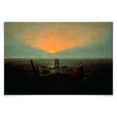 Poster Friedrich - Mondaufgang über dem Meer