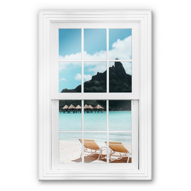 Glasbild 3D Fenster - Auf den Malediven
