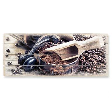 Holzbild Kaffeeduft - Panorama