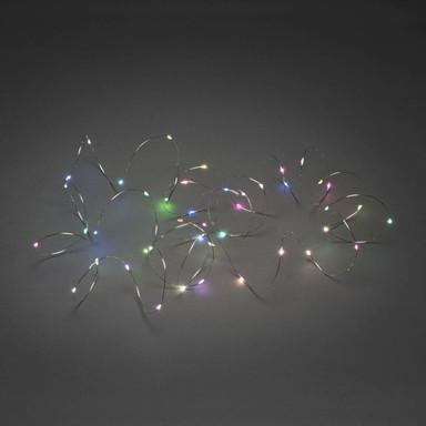 Micro LED Lichterkette, mit langsamem und schnellem Farbwechsel, 100 bunte Dioden, 4.5V Innentrafo, silberfarbener Draht
