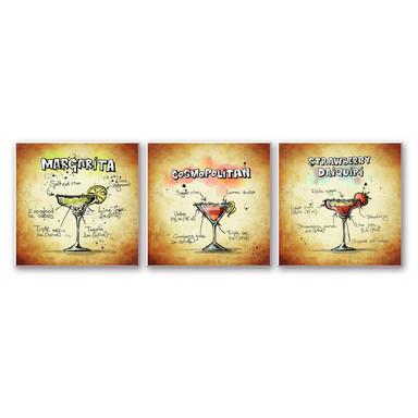 Wandbild Cocktails Set 01 (3-teilig)