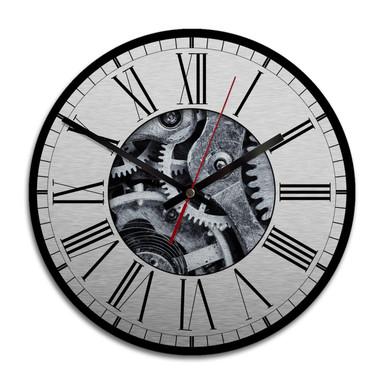 Wanduhr Alu-Dibond-Silbereffekt - Uhrwerk 02 - Ø 2 8cm - Bild 1