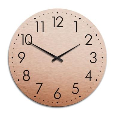 XXL Wanduhr Alu Dibond Kupfereffekt - Modern mit Minutenanzeige Ø 70cm - Bild 1