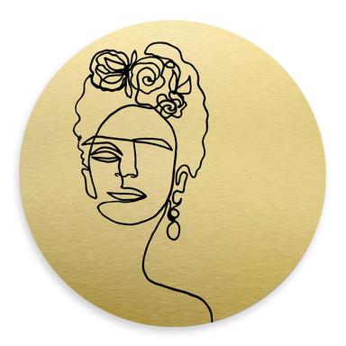 Alu-Dibond-Goldeffekt Hariri - Frida-Kahlo - Rund