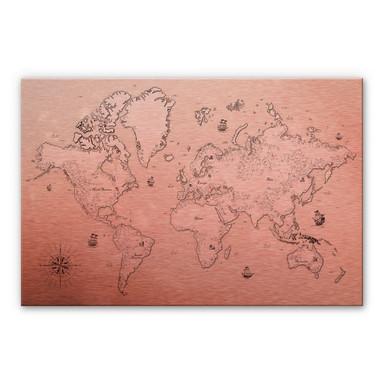 Alu-Dibond-Kupfereffekt Weltkarte - Aus vergangenen Zeiten