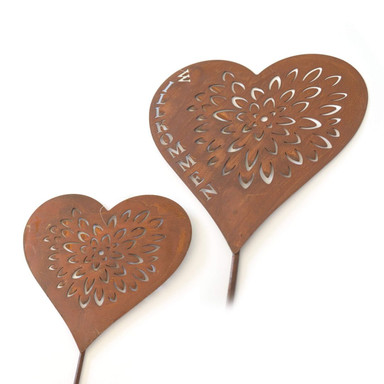 Gartenstecker Herz Willkommen Metall Edelrost - 2-teilig - Bild 1