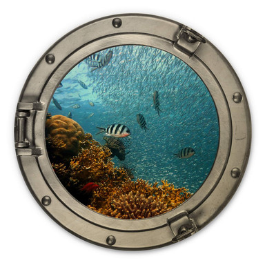 Holzbild 3D Optik - Bunte Unterwasserwelt - gelbe Korallen - Rund