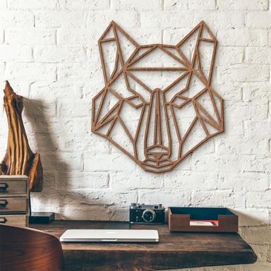 Holzkunst Mahagoni - Origami Wolf