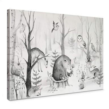 Leinwandbild Kvilis - Tierfreunde im Wald - schwarz-weiss
