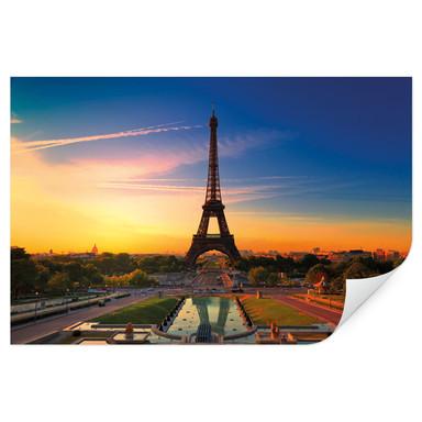 Wallprint Eiffeltum im Sonnenuntergang