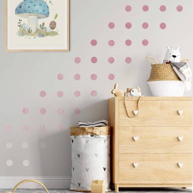 Wandtattoo Watercolor Punkte Set ombre-altrosa (50-teilig)