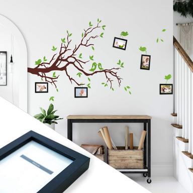 Wandtattoo Zweig mit Vögelchen 2-farbig inkl. 5 Bilderrahmen