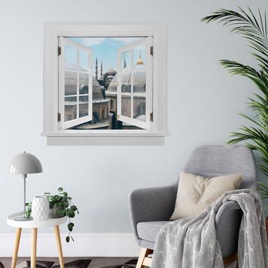 3D Wandtattoo Fenster quadratisch - Über den Dächern von Istanbul
