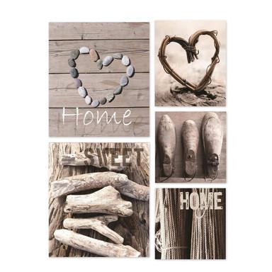 5-er Set Leinwandbild Home Sweet Home - Bild 1