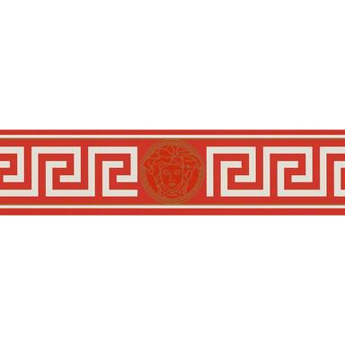Bordüren Versace Wallpaper Bordüre Greek Metallic, Rot, Weiss