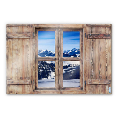 Glasbild 3D Holzfenster - Alpenpanorama