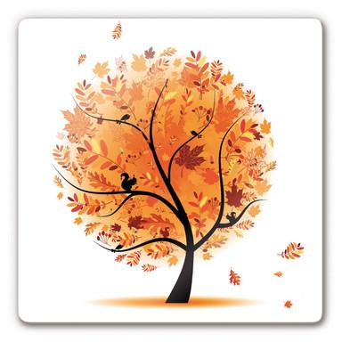 Glasbild Herbst Baum 1