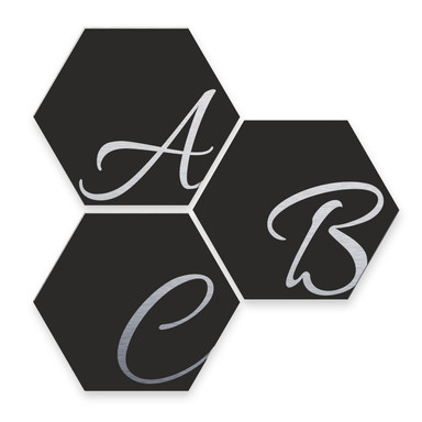Hexagon Buchstaben - Alu-Dibond Silbereffekt - Schwarz