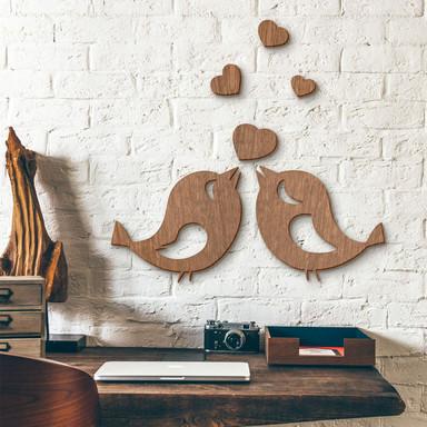Holzkunst Mahagoni - Spatzenliebe