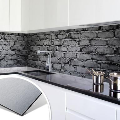 Küchenrückwand - Alu-Dibond-Silber - Mauer 04