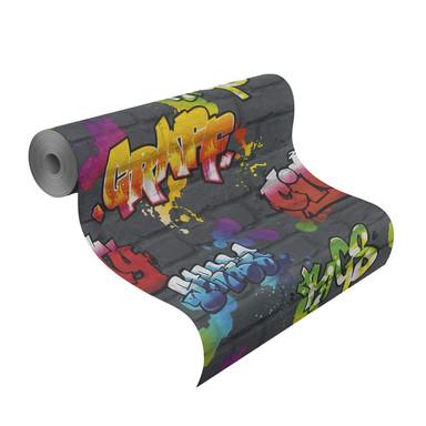 Rasch Mustertapete Papiertapete Kids & Teens 2016 Graffiti schwarz