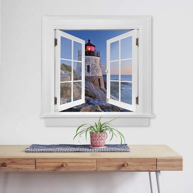 3D Wandtattoo Fenster quadratisch - Meerblick