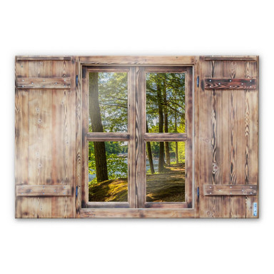 Glasbild 3D Holzfenster - Waldweg am Fluss