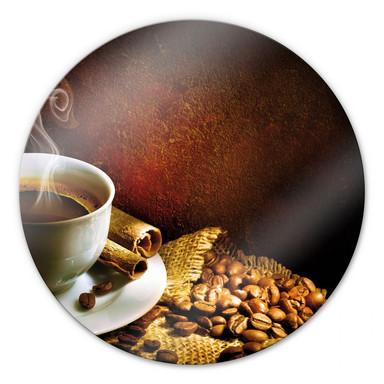 Glasbild Coffee 1 - rund
