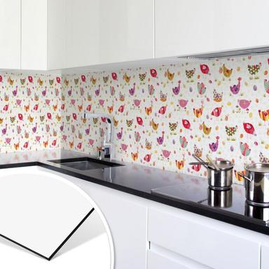 Küchenrückwand - Alu Dibond - Blanz - Bunte Hühner