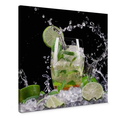 Leinwandbild Splashing Mojito - quadratisch
